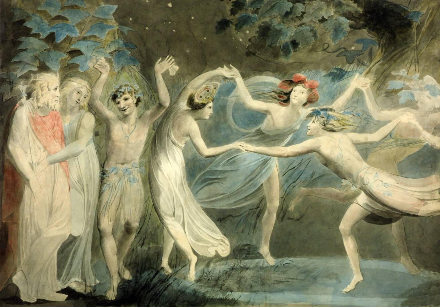 Oberon, Titania and Puck with Fairies Dancing circa 1786 William Blake