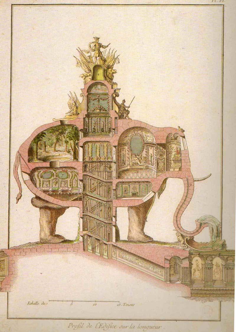 Elephant Monument for Champs-Élysées (Jean-Jacques Lequeu, 1758)