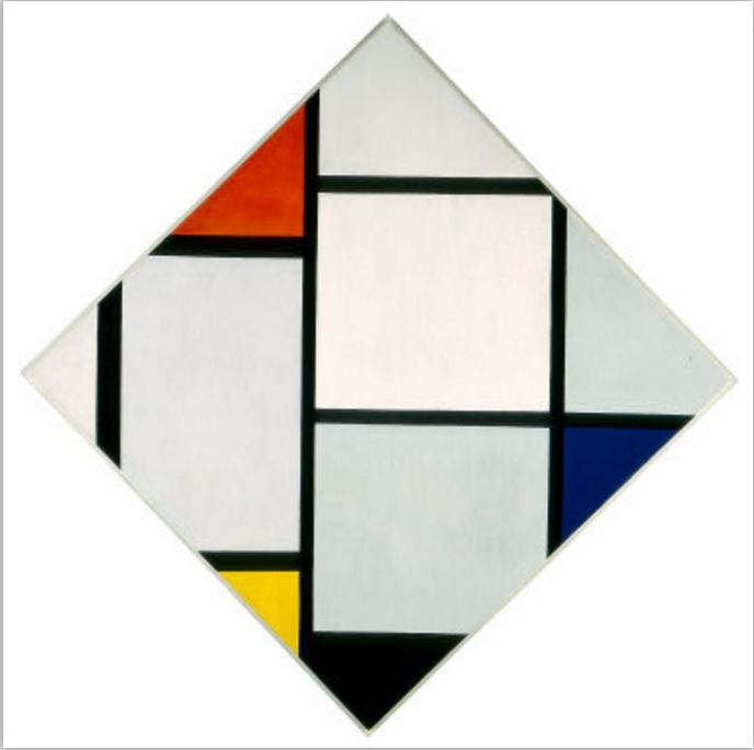 Tableau No. IV; Lozenge Composition with Red, Gray, Blue, Yellow, and Black (Piet Mondrian, 1924-1925)