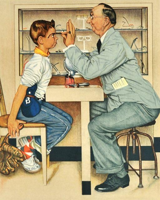 At The Optometrist (Norman Rockwell, 1956)