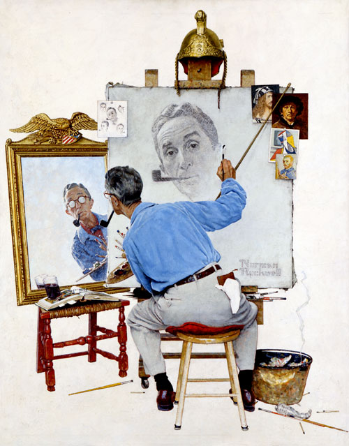 Triple Self Portrait (Norman Rockwell, 1960)