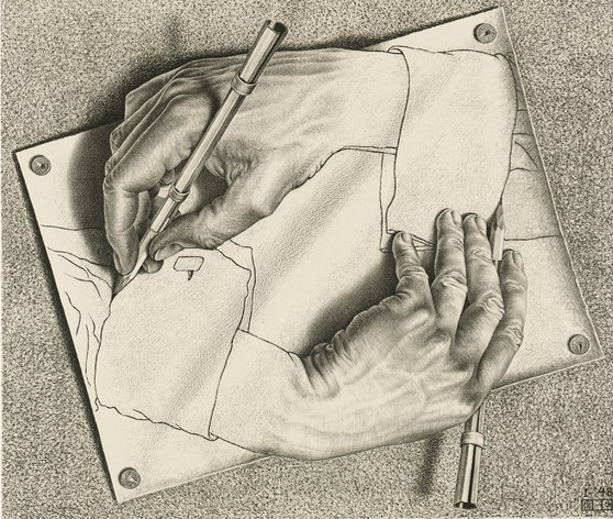 Drawing Hands (M.C. Escher, 1948)