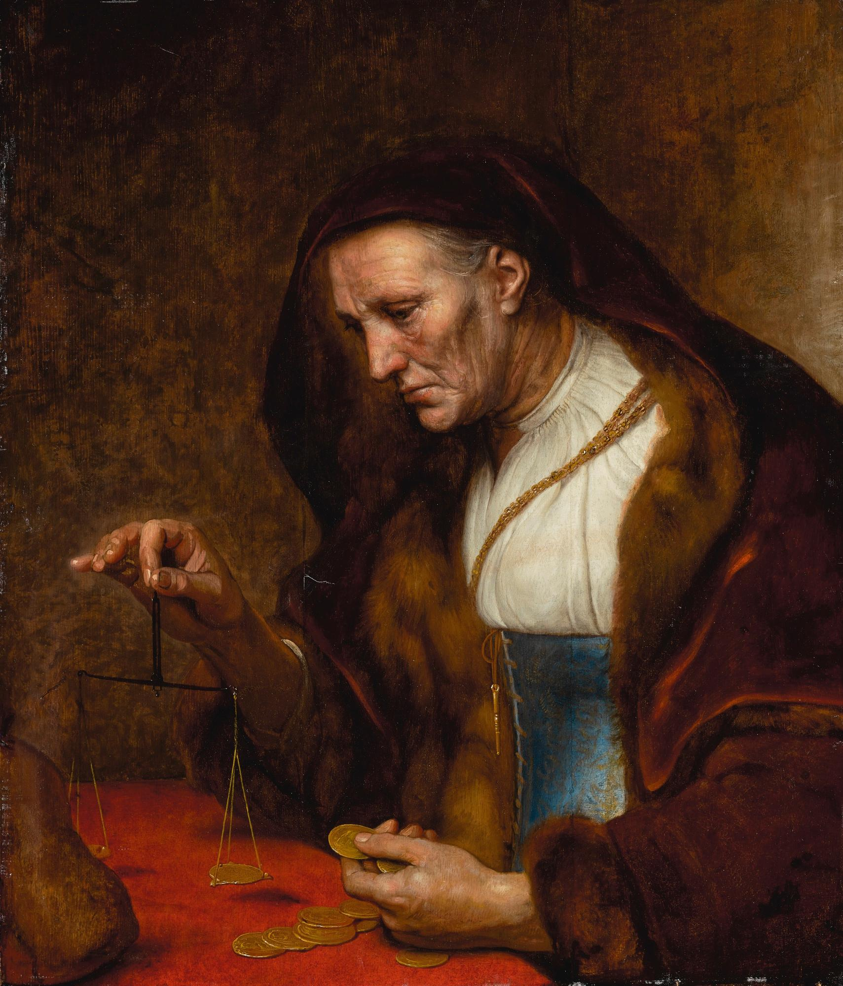 An Old Woman Weighing Gold Coins (Rembrandt School, 17th Century)