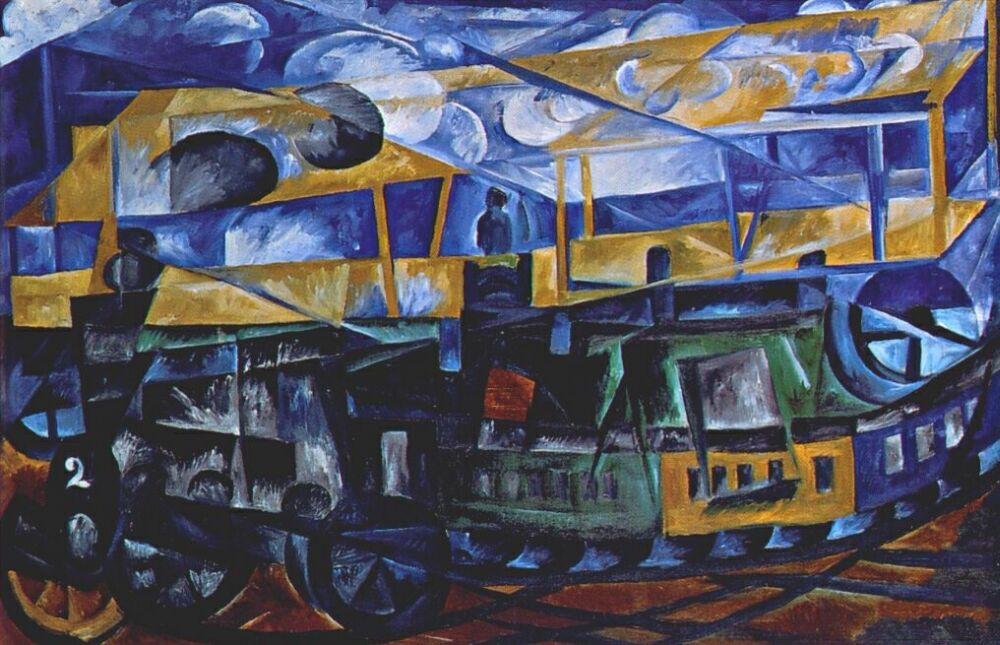 Airplane Over Train (Natalia Goncharova, 1913)
